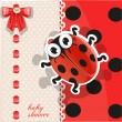 Baby shower card with cute cartoon ladybug — Stock Vector #11404328