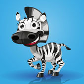 Cute cartoon character baby-zebra — Stock Vector
