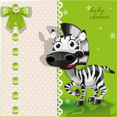 Delicate green baby shower card with zebra — Stock Vector