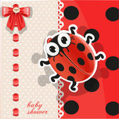 Baby shower card with cute cartoon ladybug — Stock Vector