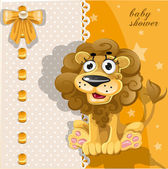 Yellow baby shower card with cute cartoon lion — Stock Vector