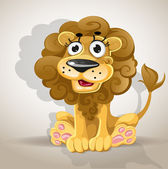 Cute cartoon character lion — Stock Vector
