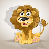 Cute cartoon character lion — Stock Vector