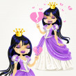 Crying gothic princess with a broken heart - Image vectorielle