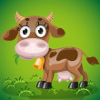 Cute baby cow chewing on a juicy grass — Stock Vector
