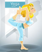 Blond girl in yoga pose Nataradzhasana — Stock Vector