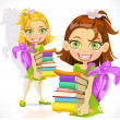 Schoolgirl with a stack of books — Stock Vector