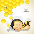 Baby shower card with newborn child dressed as bee — Vettoriali Stock