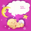 Baby shower pink card with sleeping newborn baby — Stock Vector
