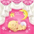 Pink baby shower card with sweet sleeping newborn baby — Stock Vector