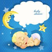 Baby shower card with sweet sleeping newborn baby — Stock Vector