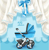 Blue baby shower card with baby carriage — Stok Vektör