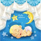 Blue baby shower card with sweet sleeping newborn baby — Stock Vector