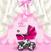 Pink baby shower card with baby carriage — Stock Vector