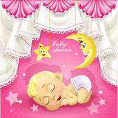 Pink baby shower card with sweet sleeping newborn baby — Stok Vektör