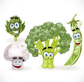 Vegetables smiles - mushroom, peas, broccoli, artichoke — Stock Vector