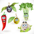 Funny cute vegetables smiles - Stock Vector