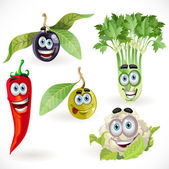Funny cute vegetables smiles — Stock Vector