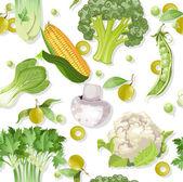 Seamless vegetarian vegetable ornament — Stock Vector