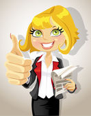 Pretty business woman with business papers showing that everything is OK — Stock Vector