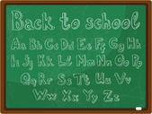 Back to school - the school board with the handwritten alphabet — Stock Vector