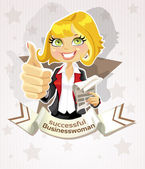 Successful businesswoman poster with pretty blond — Stock Vector