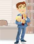 Cute business dad with the sleeping child asked to be quiet — Stock vektor