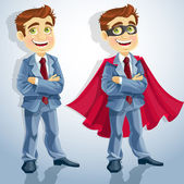 Cute businessman with folded arms, and dressed as a superhero — Stockvektor