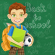 Banner - Back to school - a boy with a backpack at the board ready to learn — Stock Vector