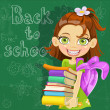 Banner - Back to school - cute girl with books at board ready to learn — Stock Vector #11939468