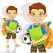 Cute schoolboy with a backpack and a textbook — Stock Vector