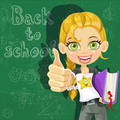 Banner - Back to school - cute girl at the board ready to learn — Stock Vector