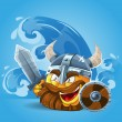 Royalty-Free Stock Vector Image: Smile Viking in helmet with sword and shield