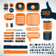 Set orange elements for web design — Imagen vectorial