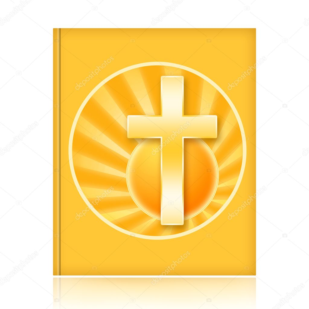 Bible book with golden christian cross and rising sun isolated over white background — Stock Photo #10805139