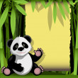 Jolly panda in a bamboo forest — Stock Vector