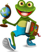 Frog student — Stock Vector