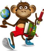 Monkey student — Stock Vector