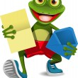 Frog with a letter — Stock Vector