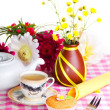Continental colorful breakfast on a pink background — Stock Photo