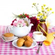 Afternoon tea with fresh baking — Stock Photo