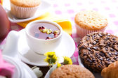 Breakfest with tea and fresh baking — Stock Photo