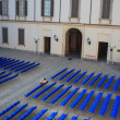 Empty blue chairs for outdoor cinema — Foto Stock