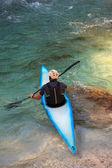 Kayaking on the Soca river, Slovenia — Stock Photo