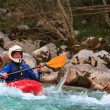 Kayaking on the Soca river, Slovenia - Stock Photo