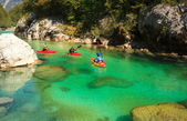Kayaking on the Soca river, Slovenia — Stockfoto