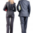 Stock Photo: Back view of walking business team