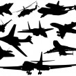 Set of different aircraft - Imagens vectoriais em stock