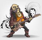 Old rock musician with a guitar — Stock Vector
