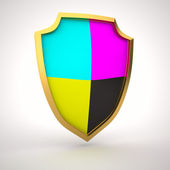 Shield of cmyk colors — Stock Photo